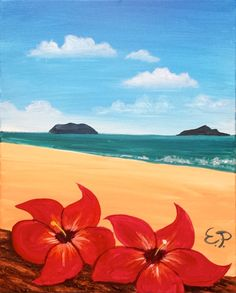 sip and paint 2018 acrylic canvas painting Cute Canvas Paintings, Easy Canvas Painting, Easy Paintings, Acrylic Painting Canvas, Diy Painting, Canvas Art, Hawaii Painting, Wine And Canvas, Hawaiian Art
