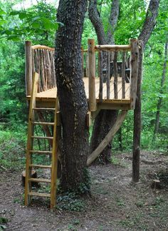 With kid-safe rustic railings, an easy to maneuver ladder, and plenty of room at the top, this custom tree house is a fantastic way to add fun to any landscape. Make the most of yours with easy add-ons such as a rope swing, hammock, or zipline.