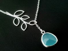 Branch with Ocean Blue Silver Necklace -bridesmaid gifts, birthday gift, Mom and sister gift,flower girl. $22.00, via Etsy.