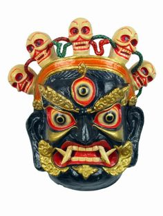 "Wall mounted Tibetan ""Wrathful Vajrapani"" mask, most likely made in Nepal"