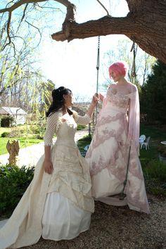 love these dresses  Anli & Laura's Lesbian Gamer Geek Wedding | Offbeat Bride