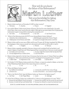 Reformation Day   Martin Luther   Printable Activity Pages Church Activities, Teaching Activities, Bible Activities, Children Activities, Martin Luther Reformation, Reformation Day, 7th Grade Social Studies, Quiz With Answers, Christian Crafts