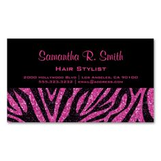 Black and Pink Zebra Professional Business Card. I love this design! It is available for customization or ready to buy as is. All you need is to add your business info to this template then place the order. It will ship within 24 hours. Just click the image to make your own!