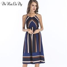 e9295db311dc9 DeRuiLaDy Striped Beach Casual Maxi Dress Women Sexy Sleeveless Chiffon  Strap Midi dresses 2017 Boho style