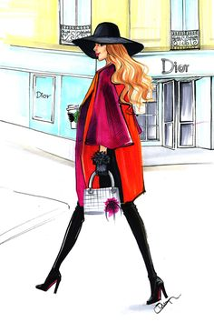 Dior Fashion illustration by Fashion Illustrator Rongrong DeVoe