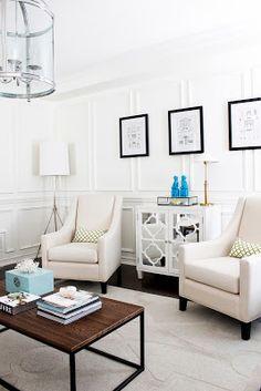 AM Dolce Vita, West Elm Metal Adjustment Floor Lamp, Living Room Design, Wainscoting, Vintage Foo Dogs