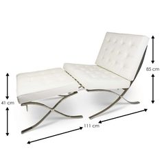 Barcelona Chair White Set Sa Dimensions (800×