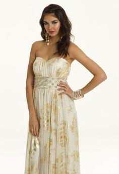 Camille La Vie Strapless Metallic Mesh Grecian Prom Dress - Style # 22600/2573