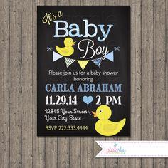 Rubber Ducky Chalkboard Baby Shower Invitation, Printable File, Diaper Raffle…