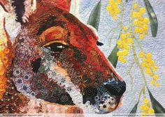 Above: 2017 AQC Challenge 'Kangaroo and Wattle' by Linda Lancaster, Victoria Challenge S, Creating A Blog, Lancaster, Kangaroo, Wander, Moose Art, Victoria, Inspire, Quilts