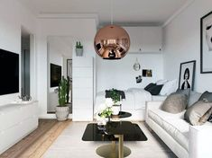 See how to fashion a calming decor scheme with cool style for the compact floor plan of a small studio apartment. Featuring six stylish home interior ideas. Modern Small Apartment Design, Small Studio Apartments, Small Apartment Interior, Small Space Interior Design, Modern Studio Apartment Ideas, Ikea Small Apartment, Modern Apartments, College Apartments, Studio Apartment Living