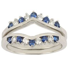 Two Pieces Sterling Silver 925 Round Shape Blue Cubic Zirconia Wedding Ring Guard Size 8 ** Please continue read.