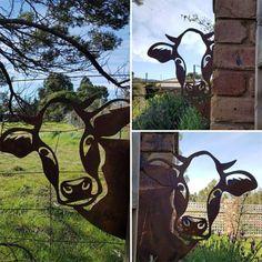 Garden Wall Art, Metal Garden Art, Diy Wall Art, Metal Wall Art, Cow Ornaments, Garden Ornaments, Outdoor Wall Art, Outdoor Garden Decor, Peek A Boo