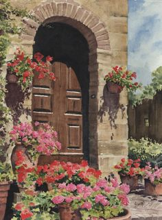 Tuscan Door Painting by Sam Sidders - Tuscan Door Fine Art Prints and Posters for Sale