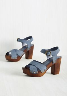 Let's Stroll Heel. You love a relaxing afternoon moseying through the park, and these blue heels are happy to join you for the jaunt! Ankle Strap Heels, Pumps Heels, Vintage Heels, Blue Pumps, Cute Heels, Killer Heels, Leather Heels, Chunky Heels, Fashion Shoes
