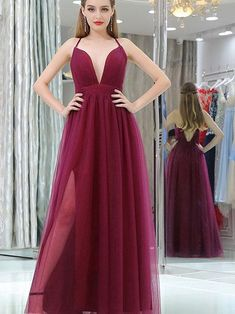 Cheap Prom Dress Long A-line Simple Spaghetti Burgundy Prom Dress M1792