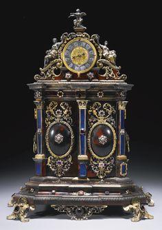 A silver mounted turtle shell tabernacle clock, Jacob Mayr, Augsburg, circa 1700 Old Clocks, Antique Clocks, Vintage Clocks, Unusual Clocks, Clock Shop, Retro Clock, Clock Art, Mantle Clock, Grandfather Clock