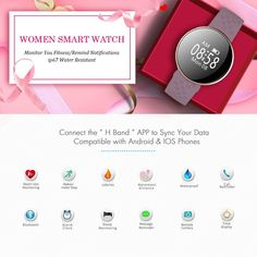 6347542a5ea Women s Smart Watch for iPhone Android Phone with Fitness Sleep Monitoring  Waterproof Remote Camera GPS Auto Wake Screen. Kmonlineshop · Electronics