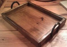 Handmade Horseshoe Handled Wooden Serving Trays! Pictures shown are Dark Walnut and Dark Mahogany colors!  Can be stained in any color