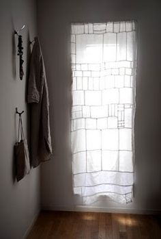 white patched curtains