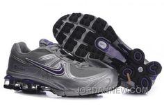 Women's Nike Shox R4 Shoes Grey/Metallic Silver/Purple New Release