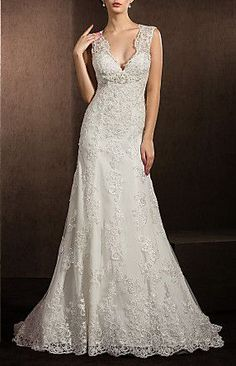 Sheath/Column V-neck Court Train Lace Wedding Dress this dress is beautiful with all the lace !
