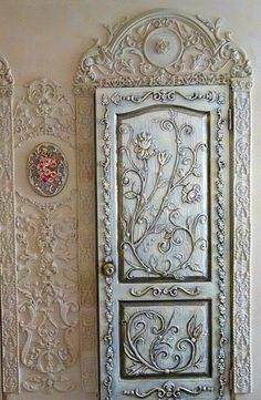 this could be done with plaster, string,or wire build-ups and covered with aluminum foil and antiqued. Or it could just be sprayed with aluminum paint.