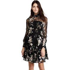 Zac Posen ZAC Zac Posen Zarina Dress (€660) ❤ liked on Polyvore featuring dresses, black multi, ruffle neck dress, zac posen dresses, long dresses, floral embroidered dress and lace dress