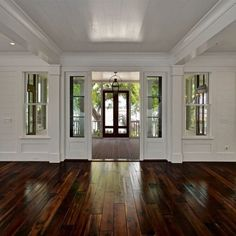Shiplap Wrapped (ceiling & walls) Living Room to Leading to the Charleston…