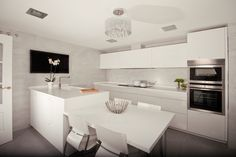 Peninsula with eating area Kitchen Dining, Kitchen Island, Kitchen White, Modern Interior, Home Kitchens, House Plans, Sweet Home, New Homes, Design