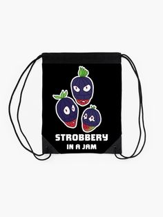 """""""Stroberry, In A Jam (White Text)"""" Drawstring Bag by grumblebeeart   Redbubble Stealing strawberries in the middle of a robbery. Funny berry slogan gift. Backpack Bags, Drawstring Backpack, Food Illustrations, Woven Fabric, Strawberries, Slogan, Chiffon Tops, Berry"""