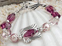 Silver and Rose Bridesmaid Bracelet