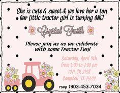 Deb's Party Designs - Pink Tractor Birthday Digifile, $14.50 (http://www.debspartydesigns.com/pink-tractor-birthday-digifile/)