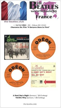 The Beatles France Single Odeon SO 10121 A Hard Day's Night Tell Me Why Vinyl Record Discography