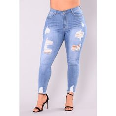 Alyse Distressed Jeans Medium ($33) ❤ liked on Polyvore featuring jeans, highwaist jeans, ripped jeans, high-waisted jeans, high waisted blue jeans and torn jeans