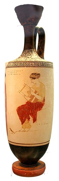 Etruscan girl playing lyre. White ground lekythos , C.450BC. Etruscan pottery