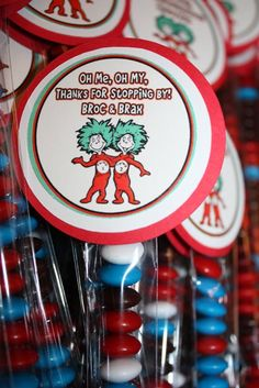 Dr. Seuss party favors....Thing 1 and Thing 2!