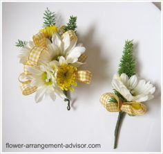 daisy yellow casual country gingham checked ribbon bout & corsage