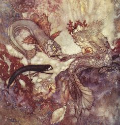 Little Mermaid Lithograph Illustration Edmund Dulac From Hans Christian Anderson Edmund Dulac, Arthur Rackham, Art And Illustration, Mermaid Illustration, Book Illustrations, Art Magique, Harry Clarke, Charles Perrault, Morris