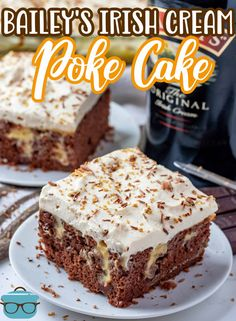 A deliciously boozy cake, this Baileys Chocolate Poke Cake is filled with a Baileys vanilla pudding and all topped off with a Baileys infused frosting! Poke Cake Recipes, Candy Recipes, Dessert Recipes, Chocolate Cake Mixes, Homemade Chocolate, Just Desserts, Delicious Desserts, Baileys Cake, Baileys Irish