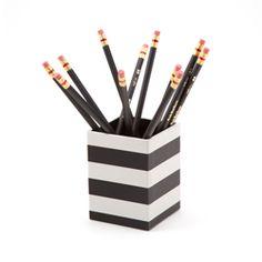 See Jane Work Paperboard Pencil Cup, Black/Stripes