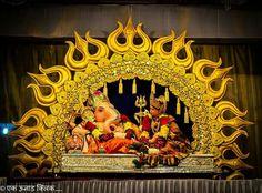 Ganpati Decoration Design, Mandir Decoration, Ganapati Decoration, Diwali Decorations, Stage Decorations, Festival Decorations, Ganesha Pictures, Ganesh Images, Ganesh Design