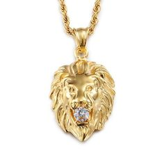 Gold Chains For Men Gold Plated LION necklace. Get the power of LION- the king of the Jungle . Lion Necklace, Pendant Necklace, Necklace Chain, Chain Jewelry, Jewelry Shop, Jewelry Gifts, Gold Chains For Men, Hip Hop, Chain Pendants