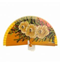 Abanico diseño amarillo con 3 flores