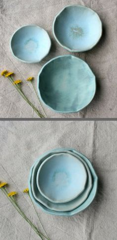2018 TREND PREDICTION: WABI SABI! Set of 3 Nesting bowls: Each handmade stoneware nesting bowl is finished in sunwashed turquoise matte glaze. Whimsical, fresh and fun, these bowls can be used to serve small sides, condiments, nuts and more. Wabi Sabi | Trend Alert | Ceramic | Pottery | Nesting Bowls | Handmade #ad