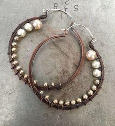 A personal favorite from my Etsy shop https://www.etsy.com/listing/452792250/wire-wrap-hoop-earrings-pearl-earrings