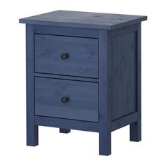 Ikea hemnes chest nightstand with 2 drawers blue solid wood 100
