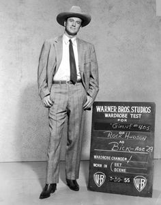 "Wardrobe test photo of actor Rock Hudson for the 1956 George Stevens film ""Giant"""