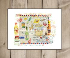 Kitchen art, How to make Dim Sun, Chinese food recipe print, 8X10 poster, asian cooking watercolor illustration