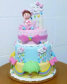 Cute with the kid First Birthday Cakes, Birthday Cake Girls, Baby Birthday, Pretty Cakes, Cute Cakes, Cloud Cake, Fake Cake, Rainbow Birthday, Novelty Cakes
